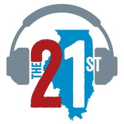 21st Show Logo: Numerical 21st over shape of the state of Illinois and headphones