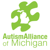 Logo depicting a puzzle piece with the outline of the state of Michigan inside. Text that reads, Autism Alliance of Michigan.